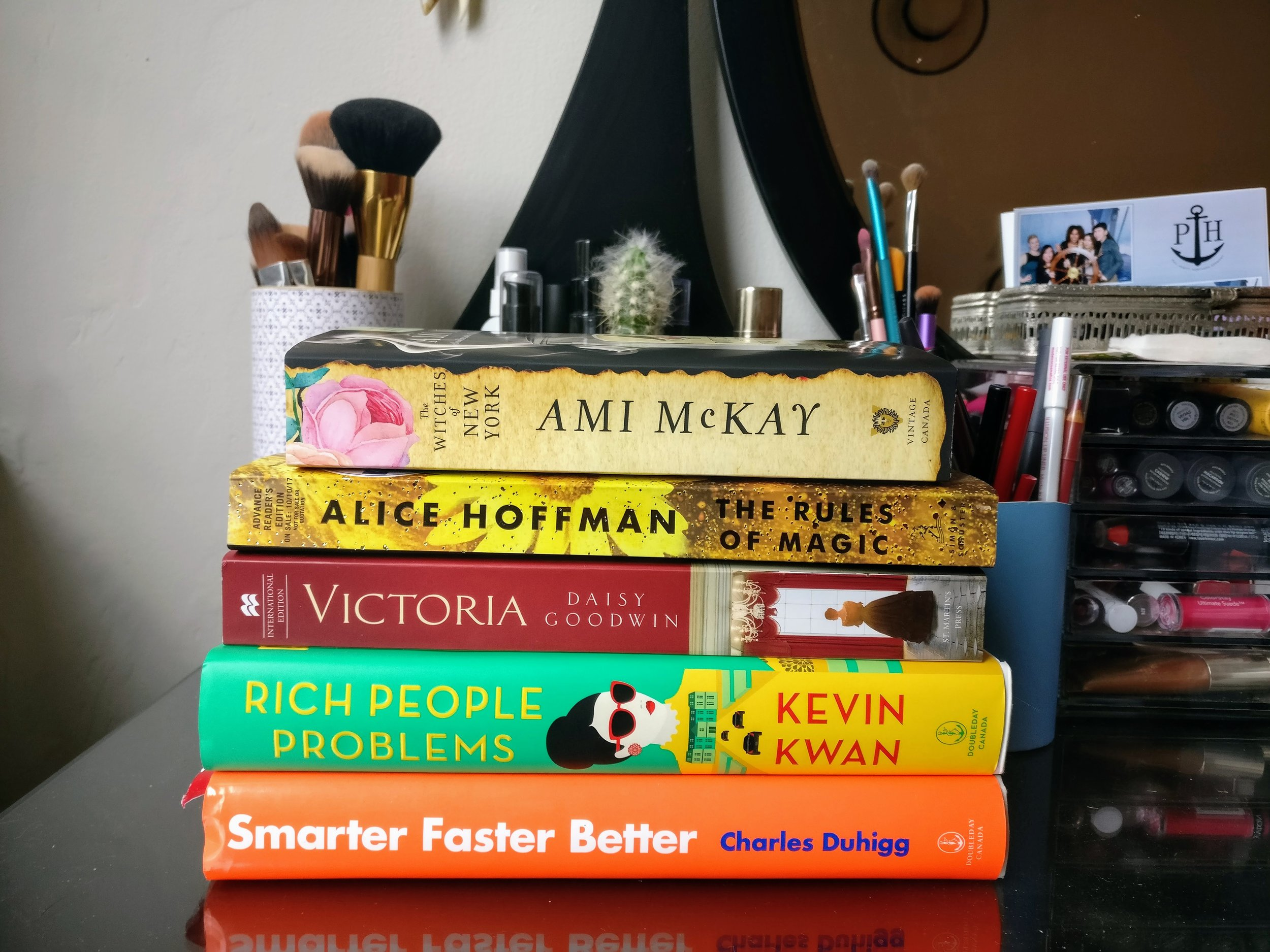 Reading as a form of self-care: My current book stack.