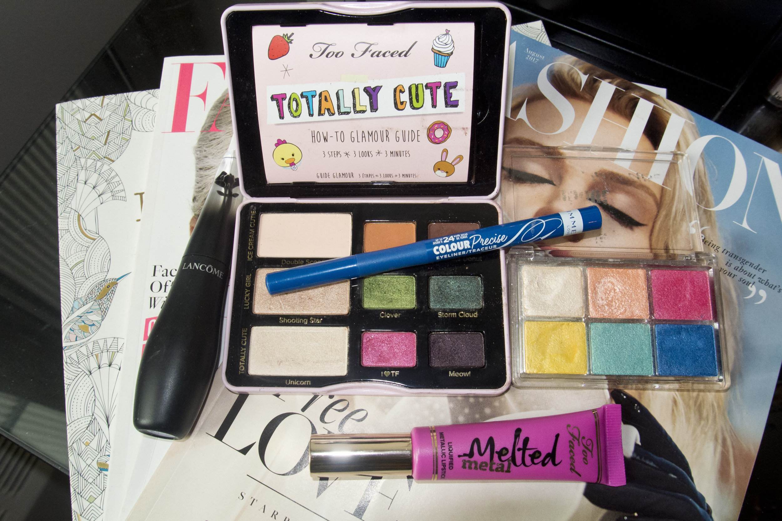 Lancome Grandiose Extreme 003, Too Faced Totally Cute Palette, Essence All About Paradise, Rimmel Colour Precise & Too Faced Melted Metallic Dream House