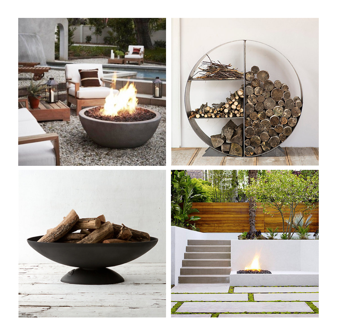 Clockwise from top left:  Gas Fire Pit via My Domaine // Steel Circle Log Holder from Terrain  // Built-in Fire Pit by   John Maniscalco Architecture // Iron Oval Fire Pit from Terrain