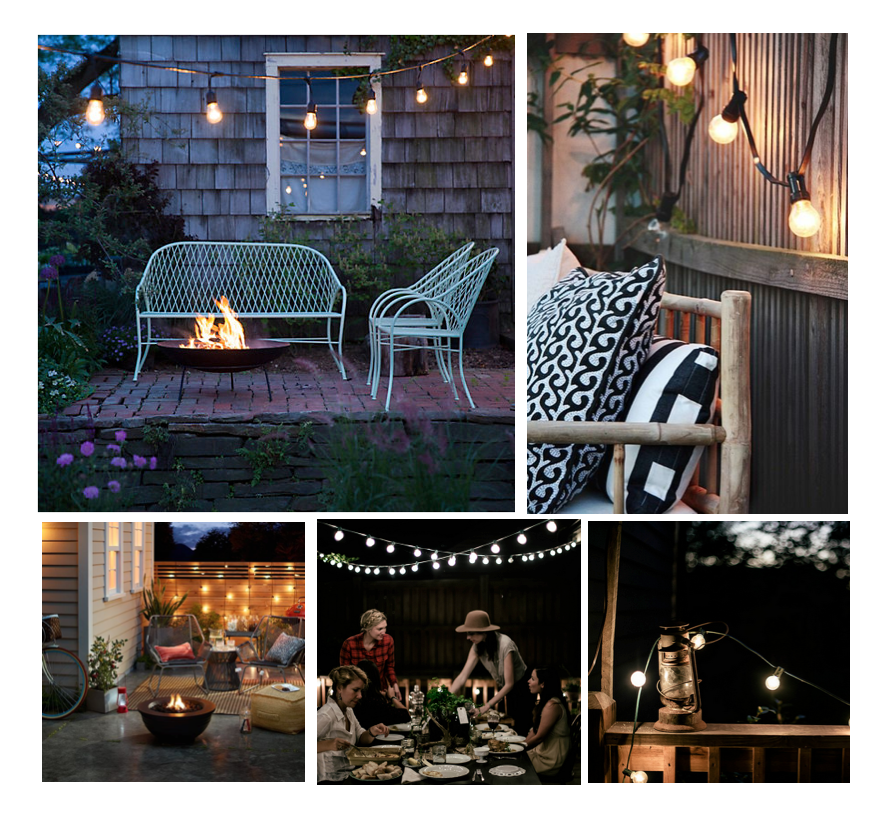 Clockwise from top left:  Vintage Drop Lights from Terrain  //  Patio inspiration from Decor8  //  String Lights and Vintage Lantern from Local Milk  //  Autumn Dinner Party from Local Milk //  Patio Inspiration by Target