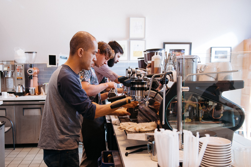 Jimmy and his baristas working their magic behind the bar.