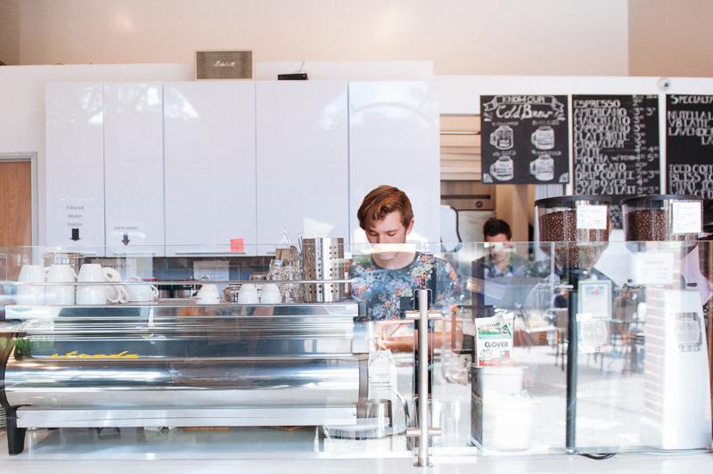 The espresso bar features a beautiful, curvaceous La Marzocco Strada.
