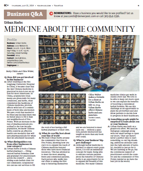 Check out the write up on Urban Herbs in the Denver Post by clicking the image above!