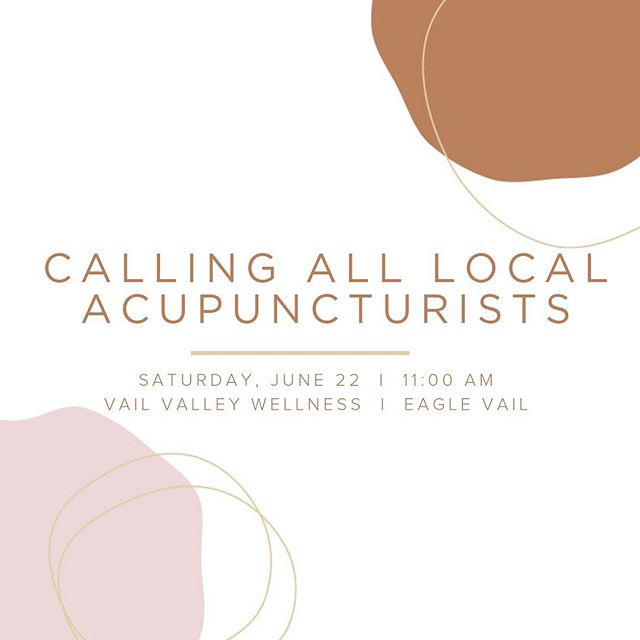 Your voice and input are important, please join us at the first Acupuncturist Stakeholder Meetup for the Vail Valley and surrounding areas. • Join us for lunch to learn why our Practice Act Review is important to you, meet with Liz Spetnagel, DAOM, LAc, President of the AAC and Lara Lee Hullinghorst, lobbyist for the AAC and give your input on how their practice will look for the next 10 years. • Saturday, June 22, 11am-1pm at @vailvalleywellness 41184 US-6, Unit 140, Eagle Vail • Meet and Mingle with acupuncturists from Summit, Eagle, Garfield and Pitkin Counties. • This is your opportunity to talk about what the AAC can do to ensure that your questions are answered and concerns are addressed as they work on updating their Practice Act. • Please RSVP by phone, text or email by Wednesday, June 19 to elizabethspetnagel@centura.org ‪970-471-3225‬