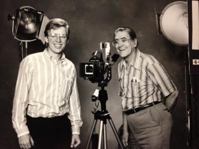 Brian with portrait artist/mentor Louis M. Ver Baere. Ver Baere Studios, Pendleton Oregon - 1988