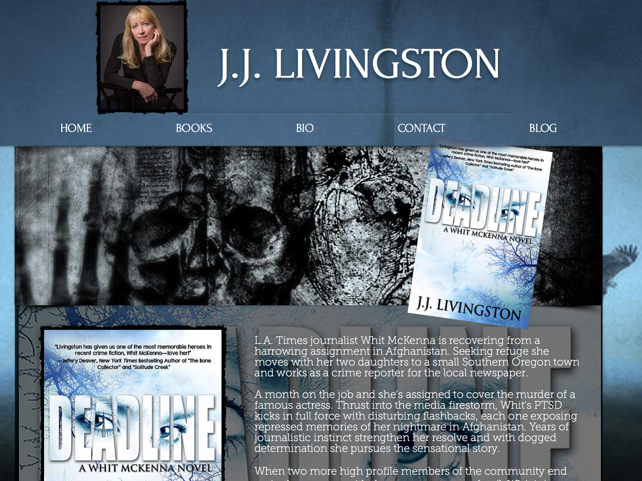 """I share this particular screenshot because it includes the reshoot of my error. J.J. came to me for an image that would serve her as a realtor as well as an author. The intrigue of a murder-mystery writer does not look great on a reator business card, and visa versa.  Because I did not speak up, I had to reshoot to achieve this more suitable image of her """"author look"""". It serves as my reminder to speak up. I could not have been more grateful that JJ returned to me confident of achieving both goals. (in two separate images of course) And she's getting great reviews on her new release of """"Deadline"""". Click the image to see for yourself!.."""