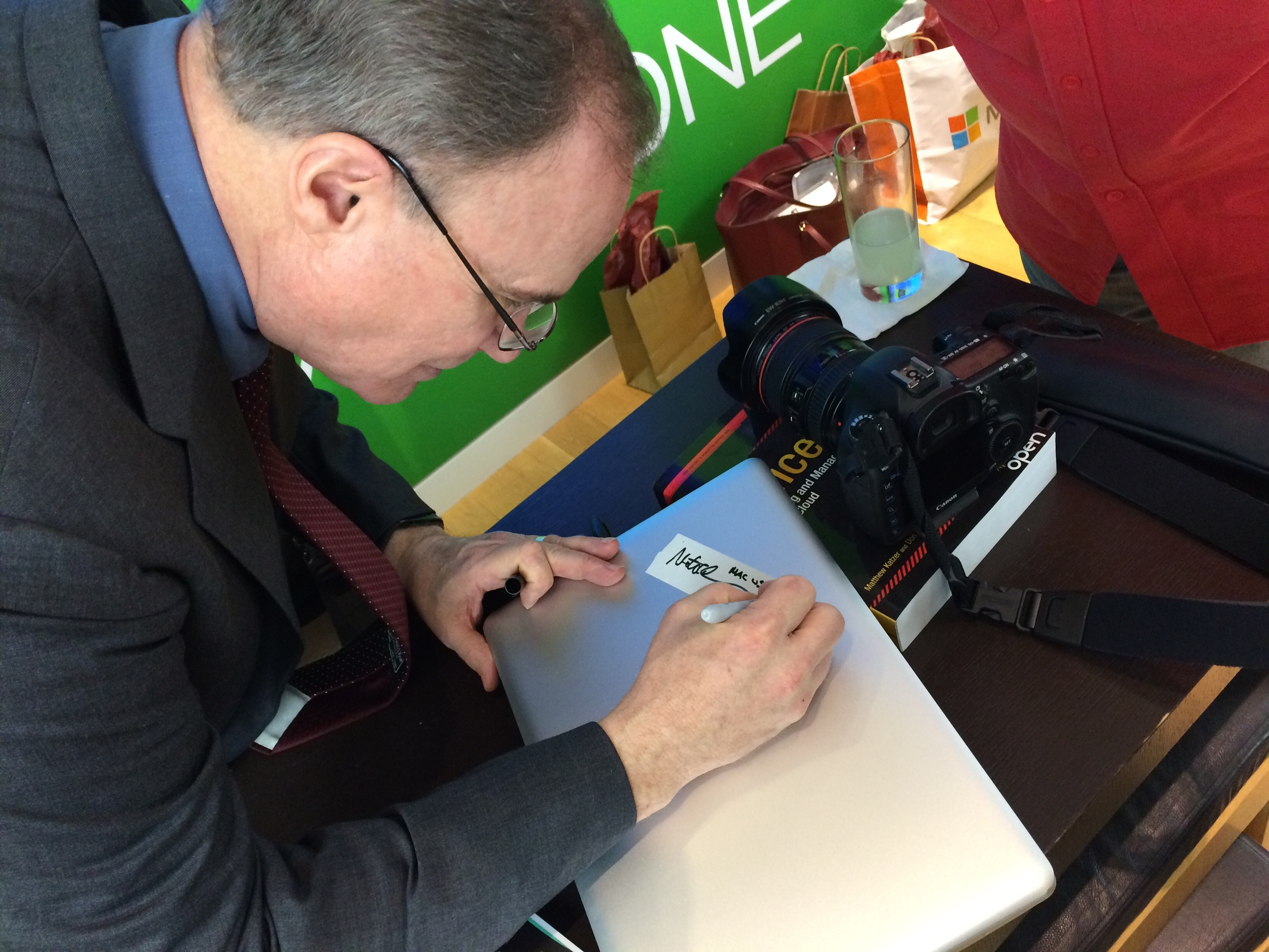 Matt Katzer signing my book. (MacBook, that is)