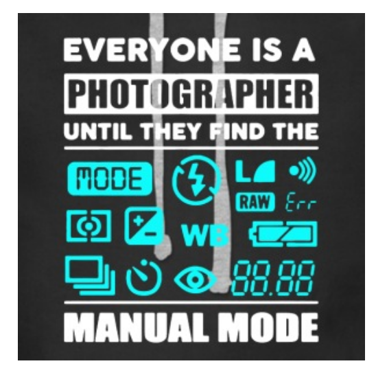 Trust me, buy this (or other cool shirts linked below) for your REAL photographer friends, (that earn their living creating images) and they'll LOVE you for it!  https://www.spreadshirt.com/the+camera+gifts