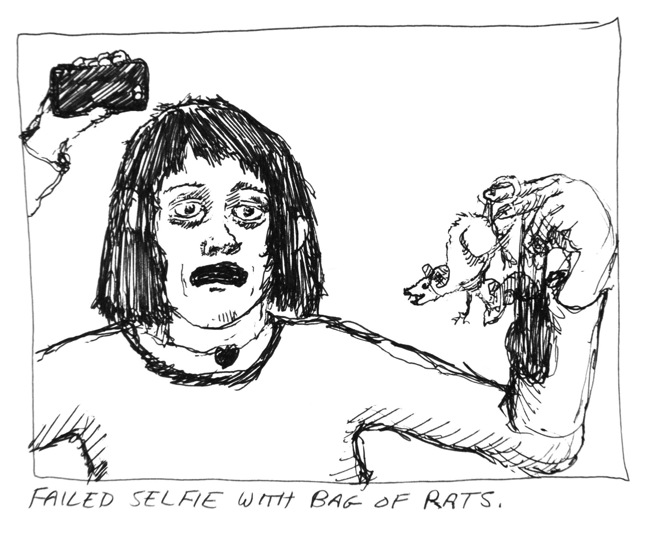 Selfie With Bag of Rats, 2017. Ink on paper. 10 x 10 inches.