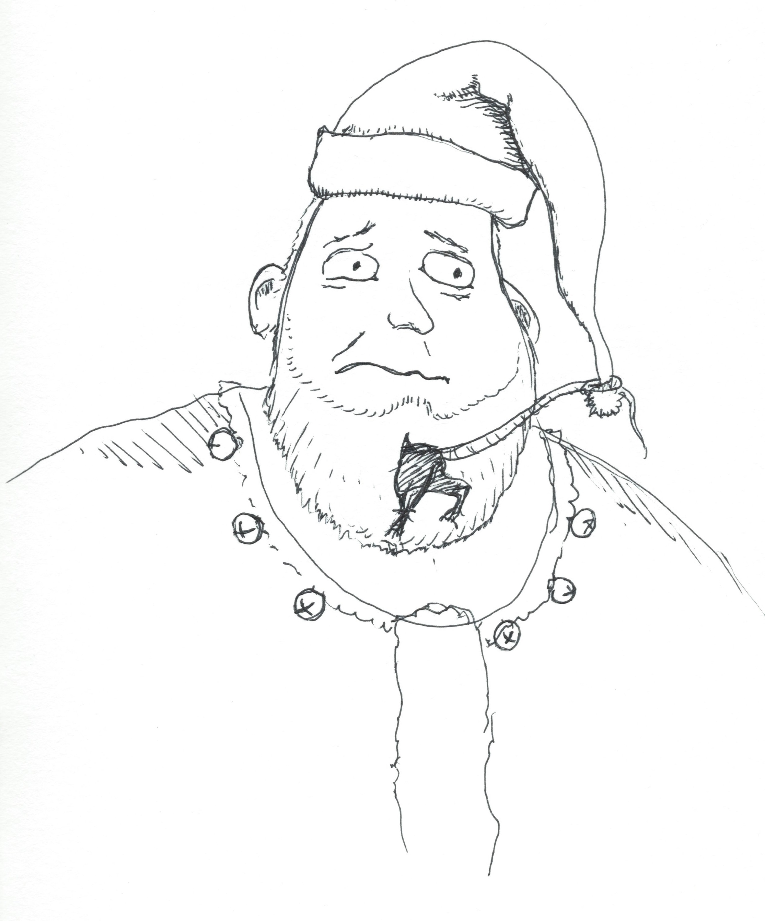 Rat Kringle, 2013. Ink on paper, 9 x 12 inches.