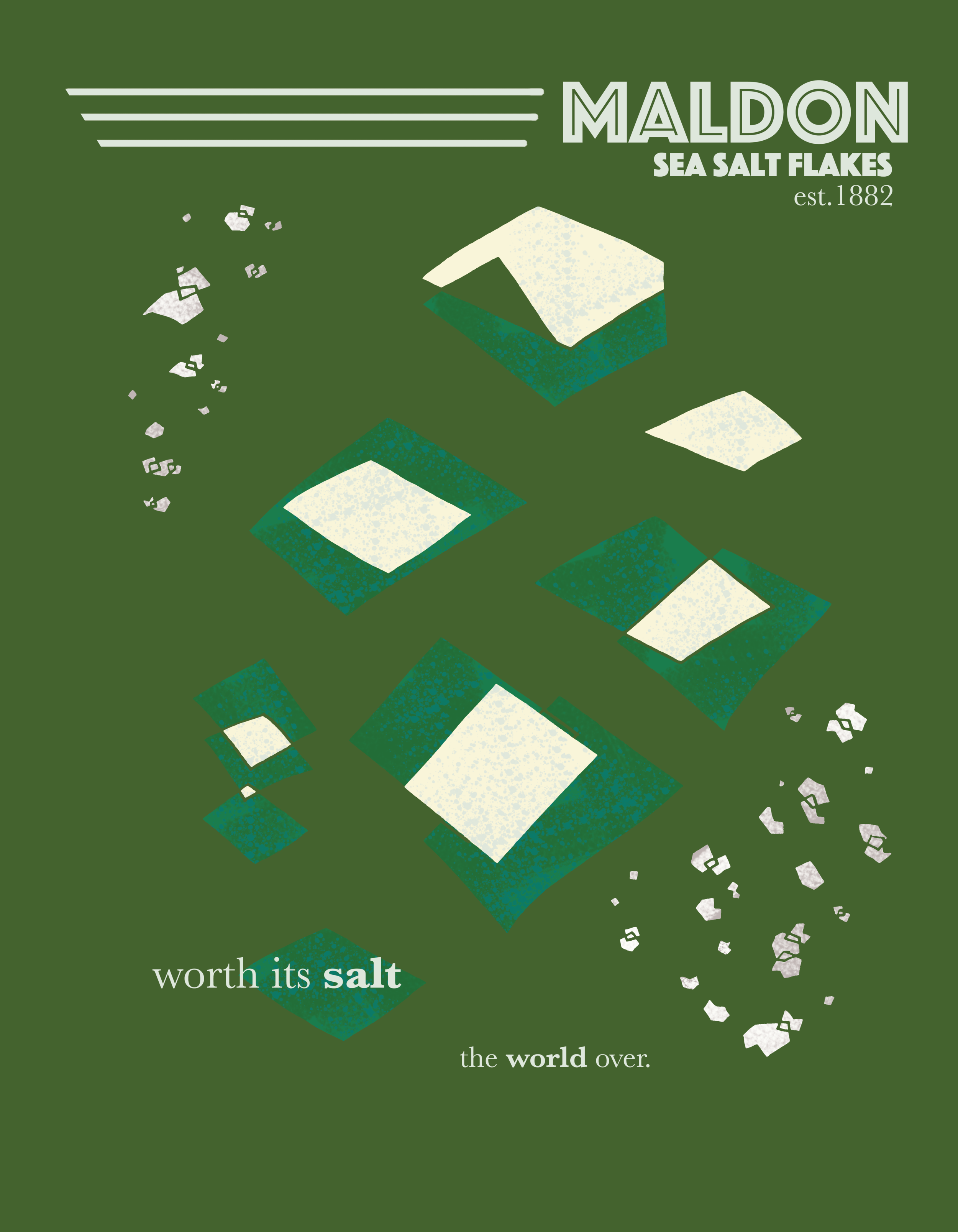 Reconceptualization of the Maldon Salt brand, bringing them into a modernist feel. Original copy shortened and compiled to keep the feel fresh and accessible.