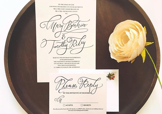 Black ink on blush paper 👌 My brother got married at the beginning of the month and I was so honored to be asked to design their wedding invitations. So happy with how these turned out.  #strugglepretty #shopstrugglepretty #weddinginvitations #calligraphy #moderncalligraphy #nashville #weddings #design