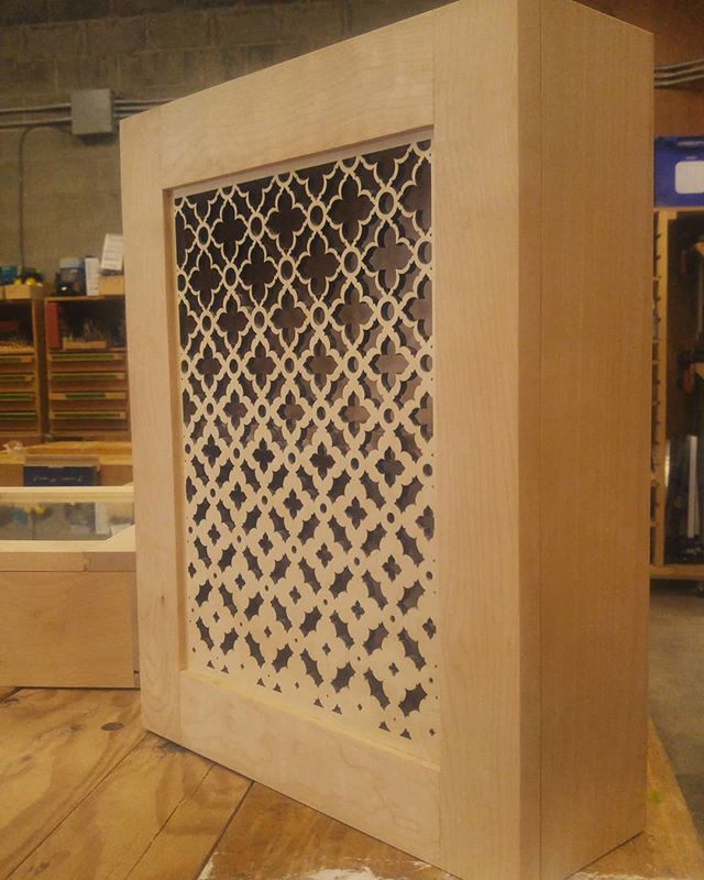 Haven't posted in a while.. So here's a little collab with one of the @odgtrades program participants at  @tradeworks.bc.ca from a couple months ago. She built the medicine cabinet and we used a design I'd been working on to laser cut the door. I hope to explore this experiment more soon!