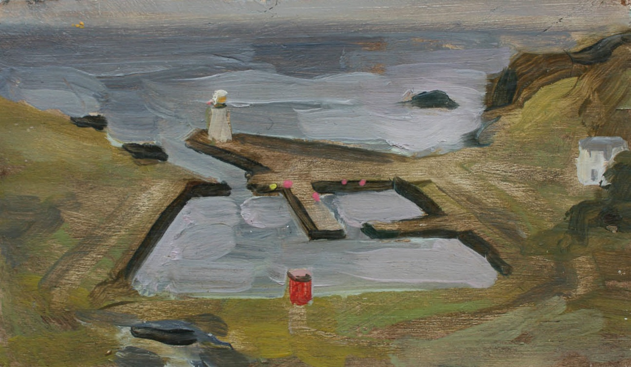 Lybster harbour evening oil on board