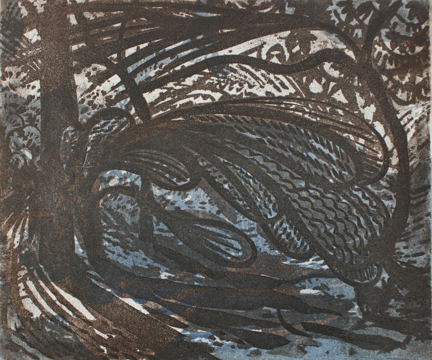 Windswept bush and dog sugar lift etching 2 plates
