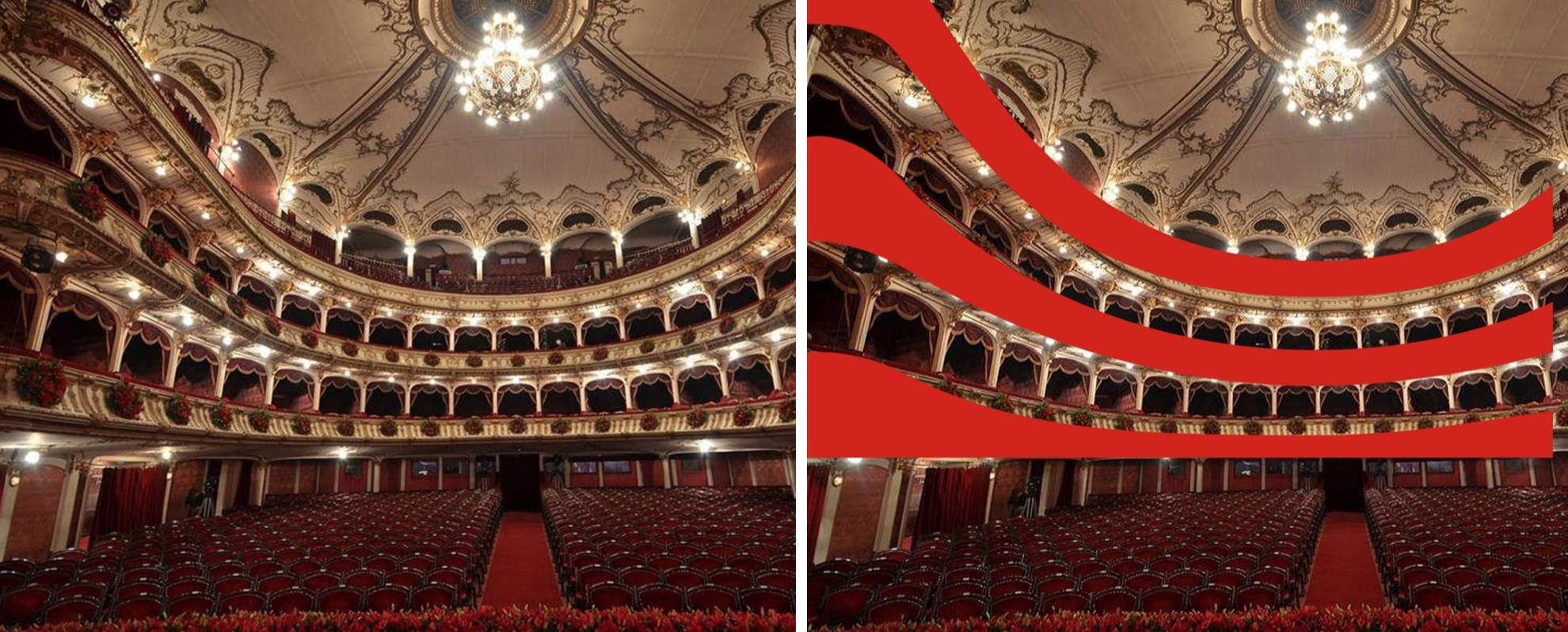 Although most cultural institutions use a representation of the building as a logo,  Heraldist  went the opposite way and designed a logo inspired by the interior of the building, capturing the subjective perspective of the artist, the perspective of the hall as seen from the stage