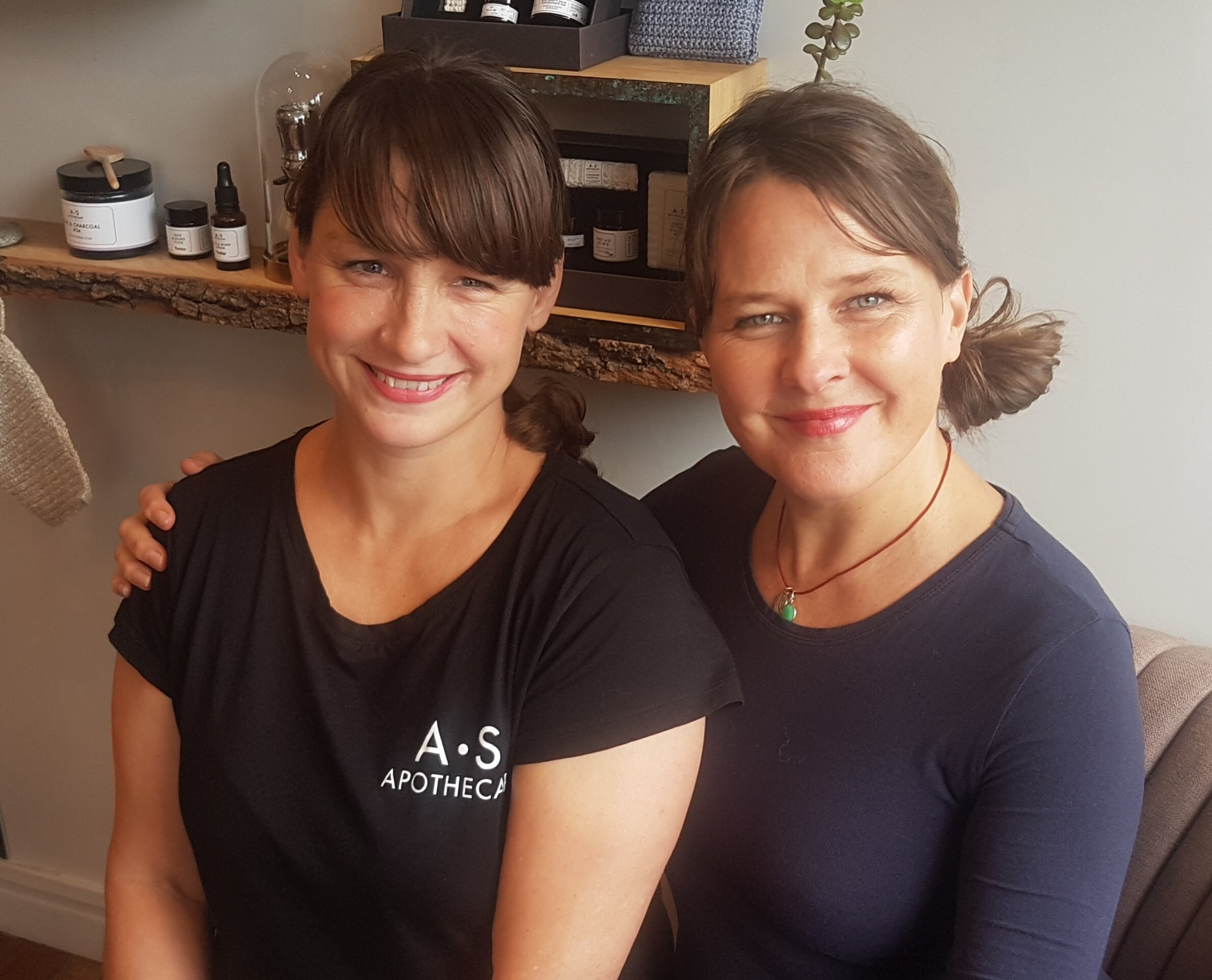Lisa Barrett and Tara Gould. Our wonderful A.S.APOTHECARY Meadow Spa Holistic Facial Therapists