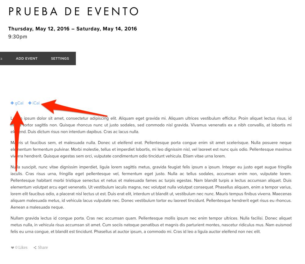Nos sale directamente la pagina del evento con los links (Señalados por las flechas) para añadir el evento al calendario personal ya se use Google o Apple.