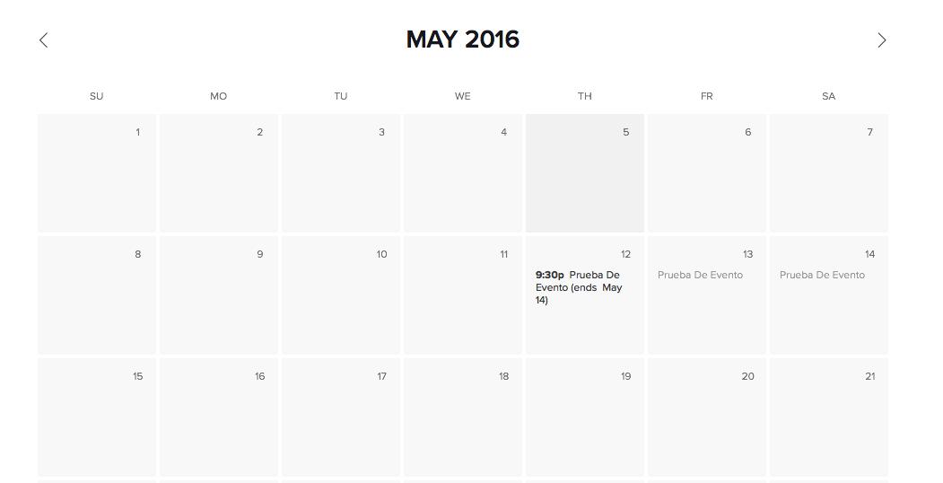 Si volvemos atras y pinchamos en la pagina de los eventos ya nos sale el calendario con los eventos, si se pincha en un día en el que hay evento nos lleva a la pagina del evento. Lamentablemente esta en ingles y de momento no se puede cambiar su semana empieza en domingo...