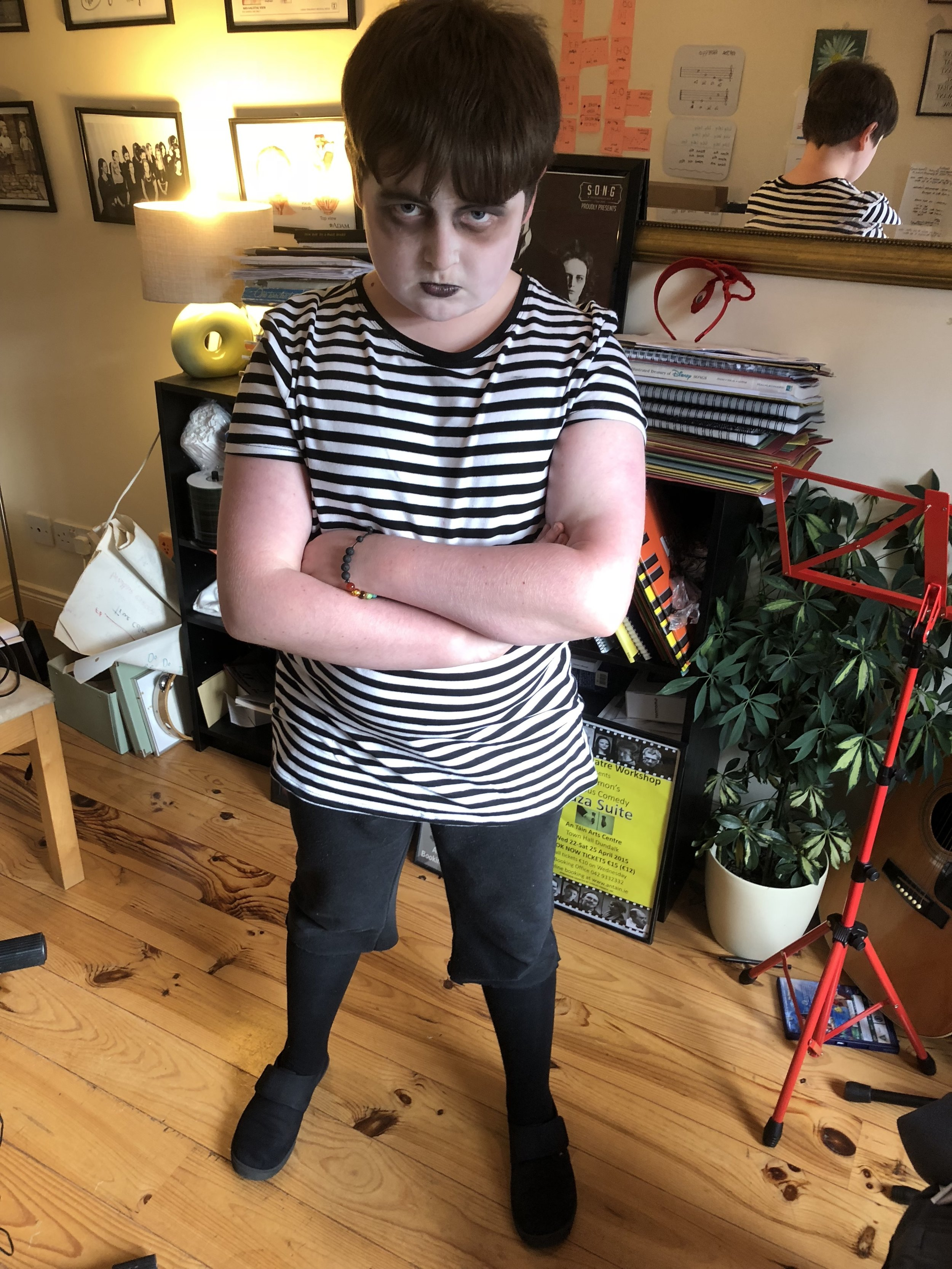EJ Dunne, who recently starred as Pudsley Addams happy to be at his vocal lesson, swear!!