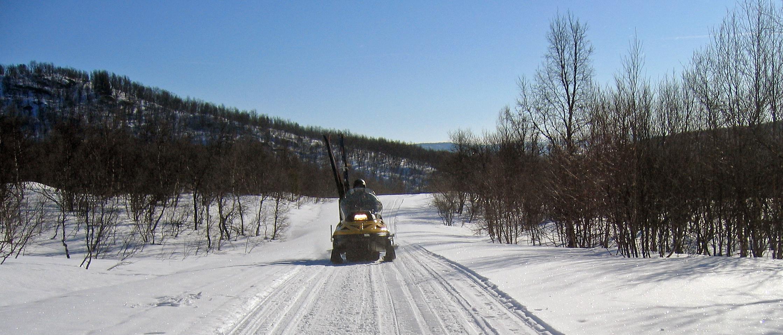Klima- og miljødepartementet (KLD) foreslår at det gis en viss åpning for kjøring med snøskuter til fornøyelsesformål, ved at kommunene gis adgang til å etablere løyper for slik kjøring. Illustrasjonsfoto: Arne Nyaas