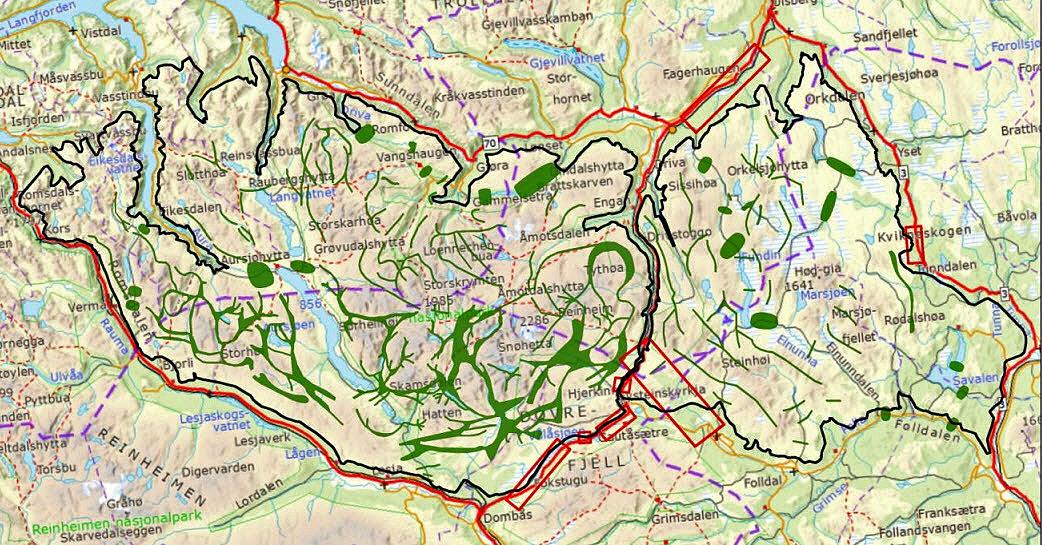 Dette kartet viser planområdet (Snøhetta og Knutshø), men er ikke identisk med kartet i Regionalplan for Dovrefjellområdet. Kartet er hentet fra NINA Rapport 800: Villreinen i Snøhetta og Knutshø. De mørkegrønne markeringene viser trekkområder for villreinen.