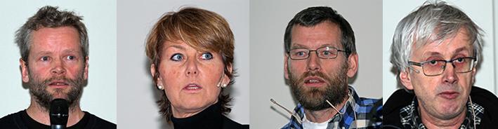 Fra venstre: Martin Ekre Hjerkind, Hanne Velure, Odd Roald Uv og Halvard G. Hagen. Foto: Arne Nyaas