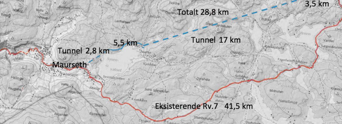 Skissen (blå stiplet linje) viser tunnelløsningen som selskapet Hardangerviddatunnelene AS jobber for å få realisert. Kartet er hentet fra nettsiden: hardangerviddatunnelene.no