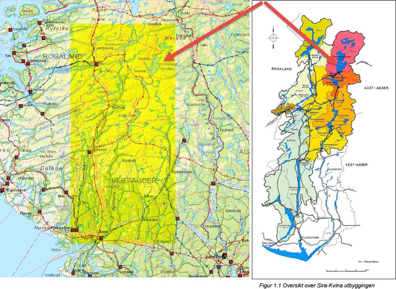 Kart som viser det aktuelle området for Sira-Kvina reguleringen. Kartgrunnlag: NVE (til venstre) og Sirdal og Kvinesdal kommuner (krav om revisjon 2009).