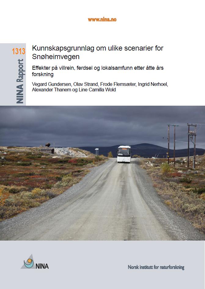 """Klikk på bildet for å laste ned NINA rapport 1313 """"Kunnskapsgrunnlag om ulike scenarier for Snøheimvegen""""."""