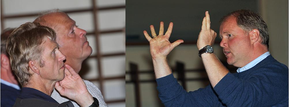 Forskerne Olav Strand (nummer to fra venstre) og Bjørnar Ytrehus (til høyre) i Norsk institutt for naturforskning (NINA) - på bildet sammen med seniorrådgiver Erik Lund i Miljødirektoratet - kommer med en kraftig oppfordring i forbindelse med skrantesjuken (CWD). - Nå må alle mann til pumpene! Arkivfoto: Arne Nyaas