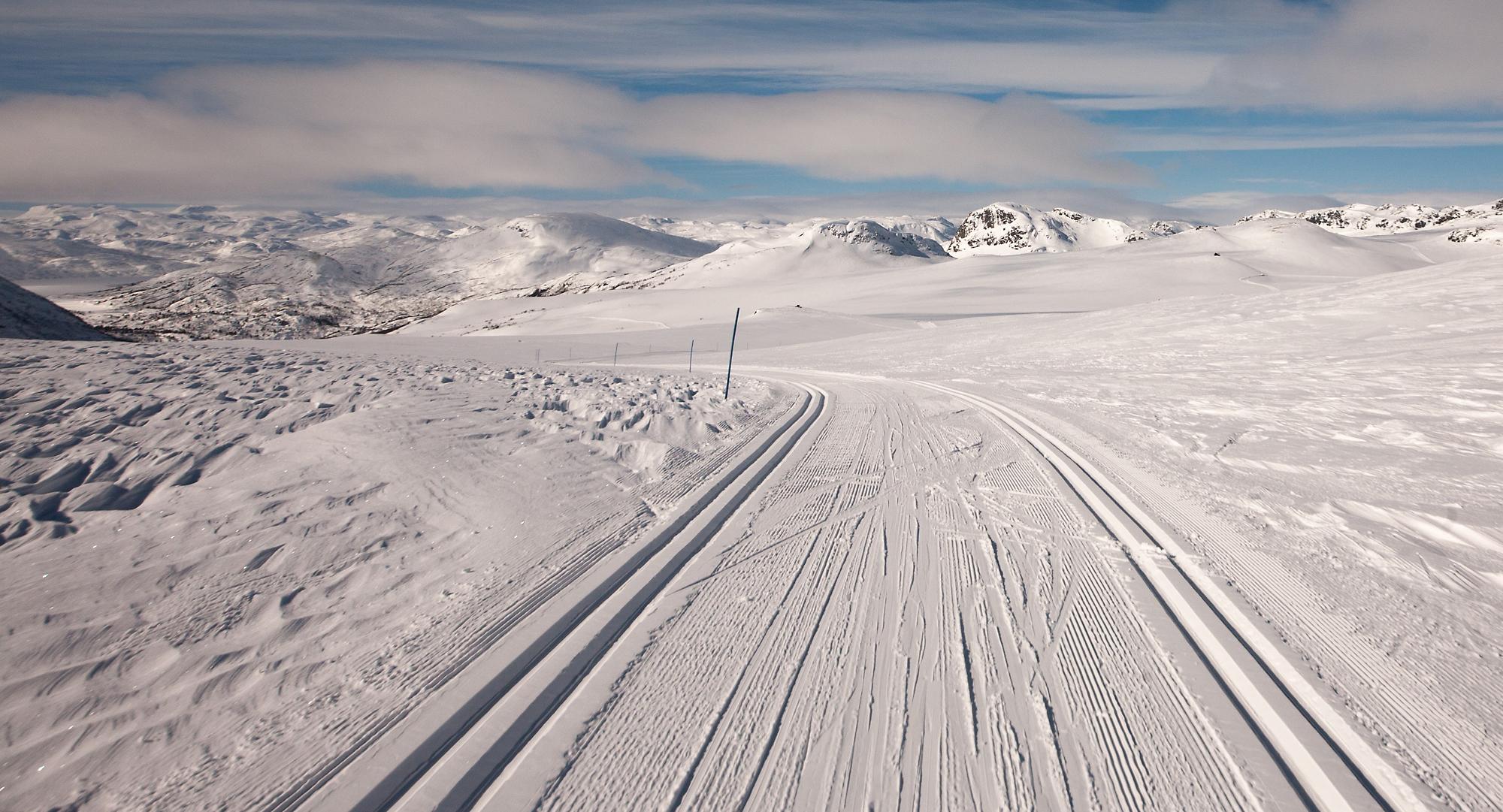 Det er eit auka press på å leggje ut nye skiløyper, blant anna i Hovdenområdet. Foto: Kjell Bitustøyl.