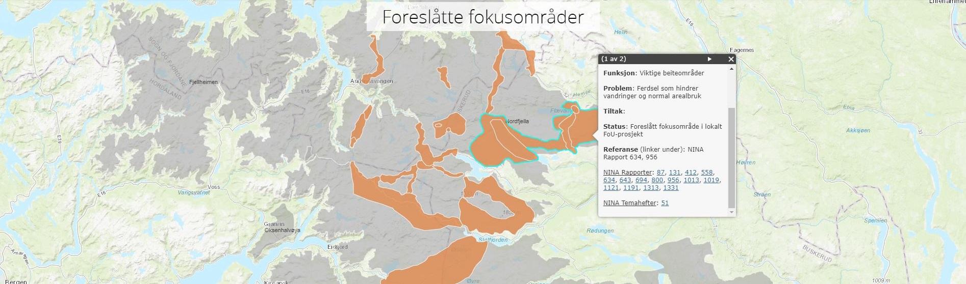 Skjermdump fra et av de interaktive kartene i historien. Figur: Norsk villreinsenter
