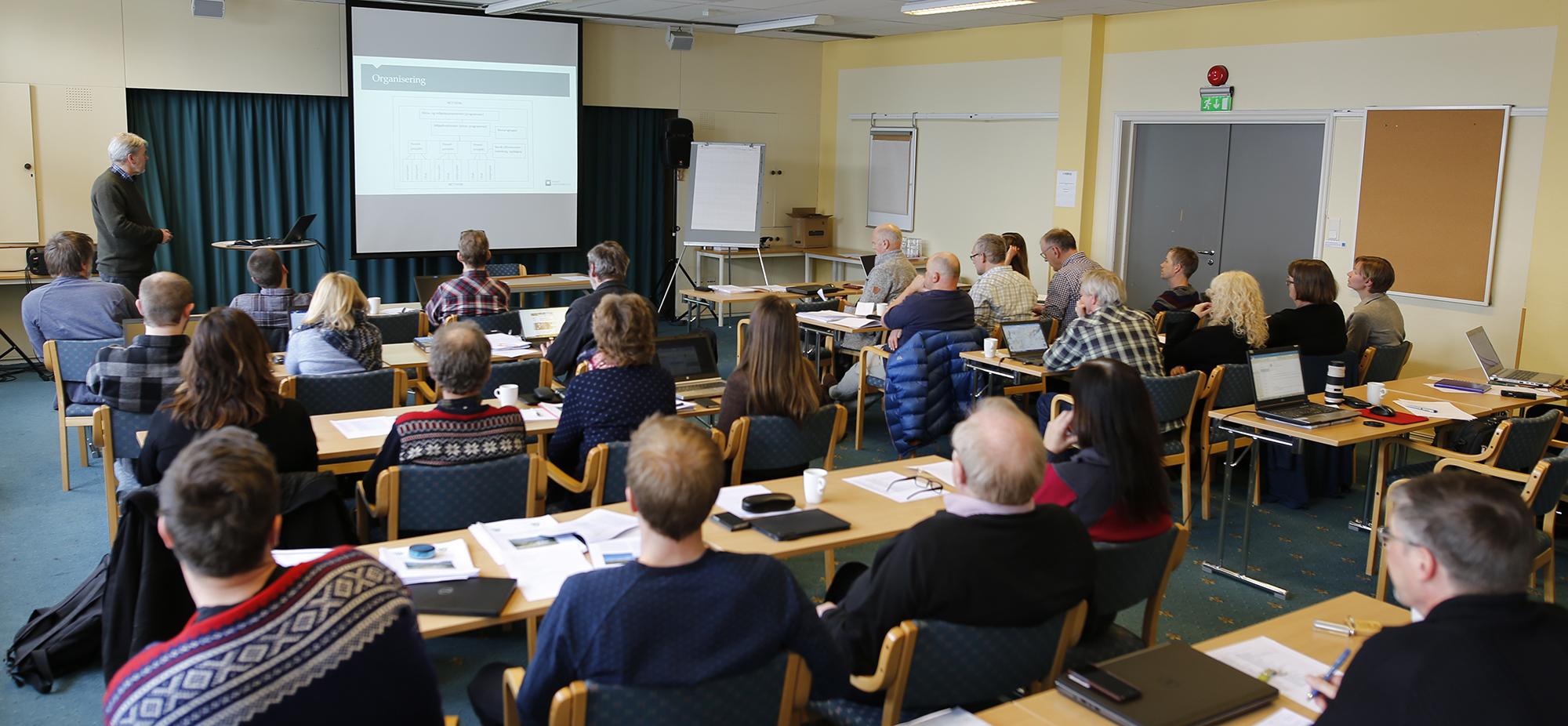Vemund Jaren fra Miljødirektoratet med en overordnet presentasjon av programmet og litt om direktoratets forventninger. Foto: Anders Mossing