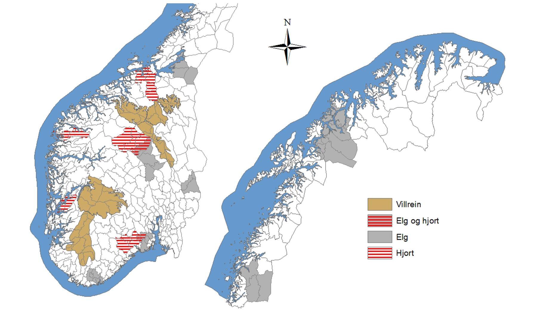 Figuren viser de ulike overvåkingsområdene for elg, hjort og villrein. Villrein i brun farge. Kilde: NINA Rapport 1388.
