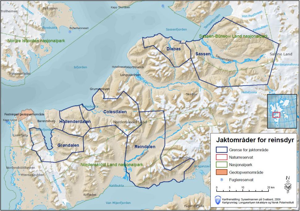Figur 2. Jaktområder er per 2013: Colesdalen, Hollenderdalen, Grøndalen, Sassendalen, Reindalen og Diabas. Disse områdene tilsvarer de jaktområdene som har vært praktisert under de siste års reinsjakt, og som er vel etablert. Klikk for større versjon.
