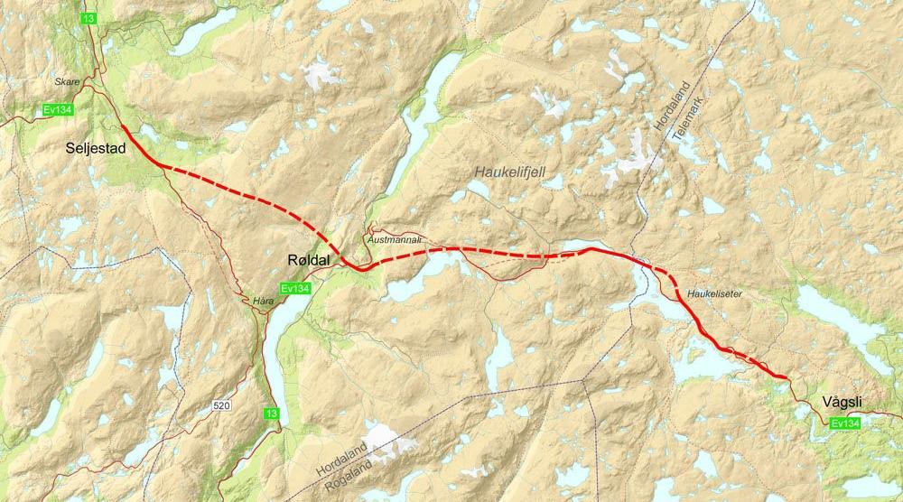Kartskisse som viser den aktuelle veistrekningen med foreslåtte tunneler (stiplet linje). Kilde: SVV