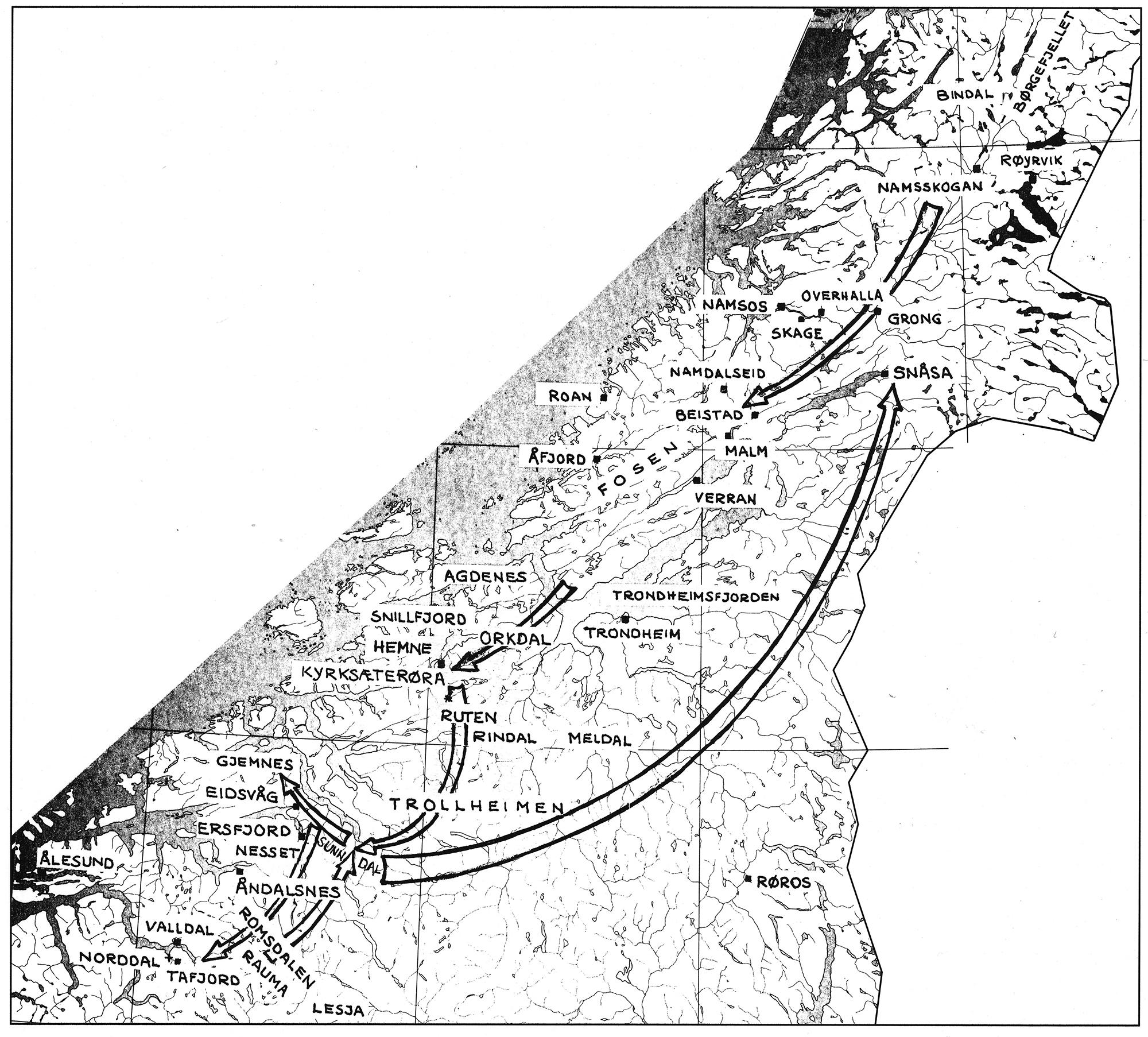 """Kart som viser Torkel Jonassens vandringar frå han tok ut frå """"Vesterfjellet"""" – """"Njaarke"""" – i 1869, til han flytta frå Sunndal til Snåsa i 1898. Klikk for større versjon. Teikning: Sverre Fjellheim frå boka """"Åarjel-saemieh"""" nr. 4, 1991"""