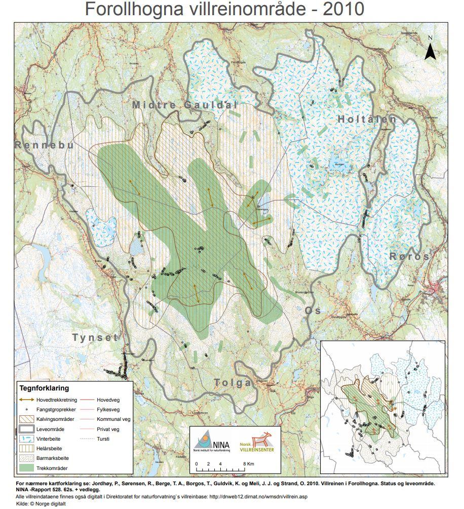 Leveområdekart for Forollhogna villreinområde. Figur: NVS/NINA