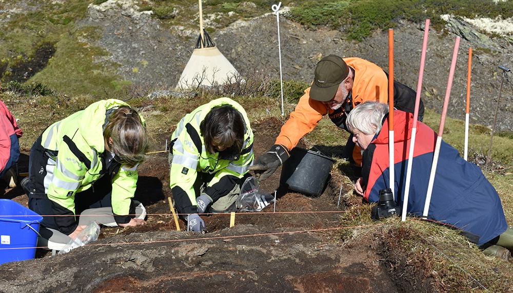 Frå utgravingane på Verket sommaren 2018, arkeologar saman med Rolf Sørumgård (oransje jakke) som var koordinator for dei friviljuge. Foto: Brit Solli