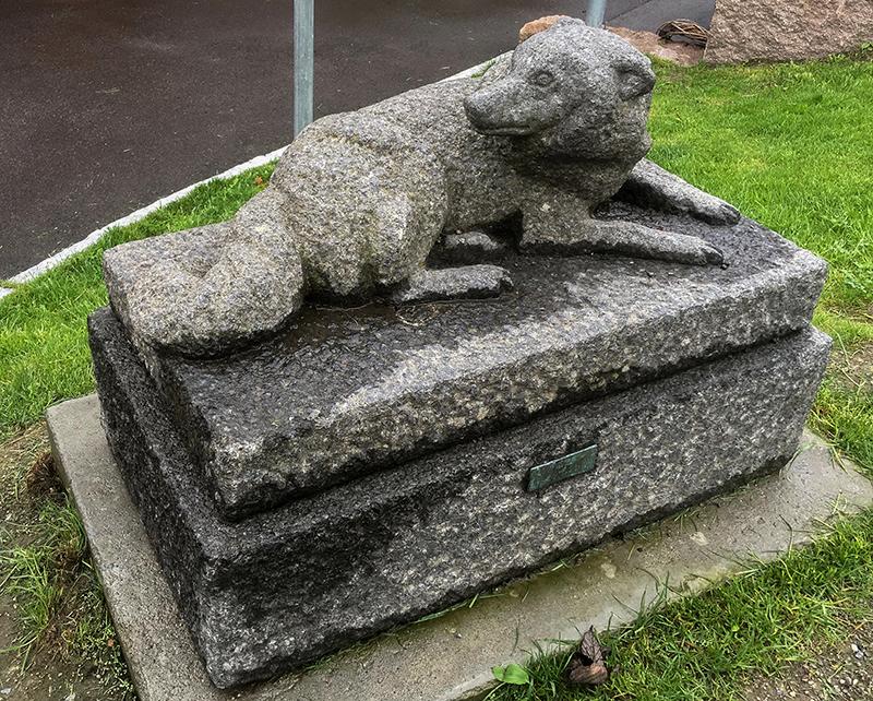 Reinsgjetarhund. Granitt.  Ein skulptur av Tors eigen hund, Villgust. Steinskulpturen er å finne i Rådyrveien Borettslag på Veitvedt i Oslo. Foto: Kjell Bitustøyl