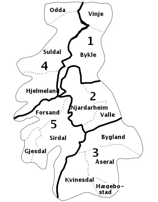 Fylker og kommuner i Setesdal Ryfylke villreinområde. Figur: Setesdal Ryfylke villreinlag
