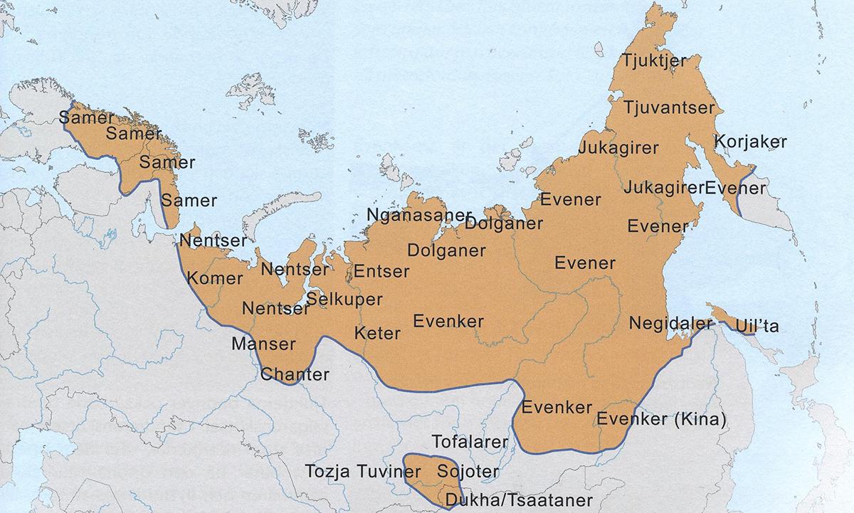 Kart over reindriftsfolk i Nord-Europa og Asia. Illustrasjon frå boka.