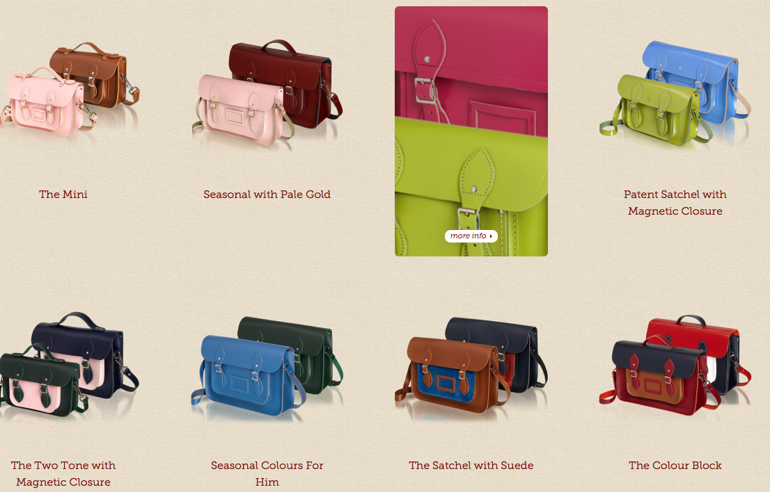 Source: Brand's website (The Cambridge Satchel Company)