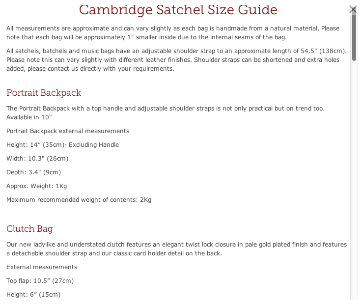 A sample screen shot of the size guide from the website.