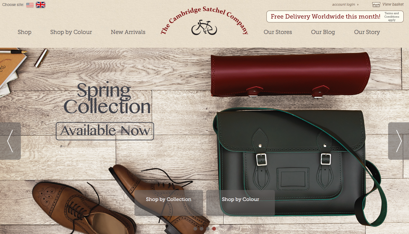 Homepage of The Cambridge Satchel Company.