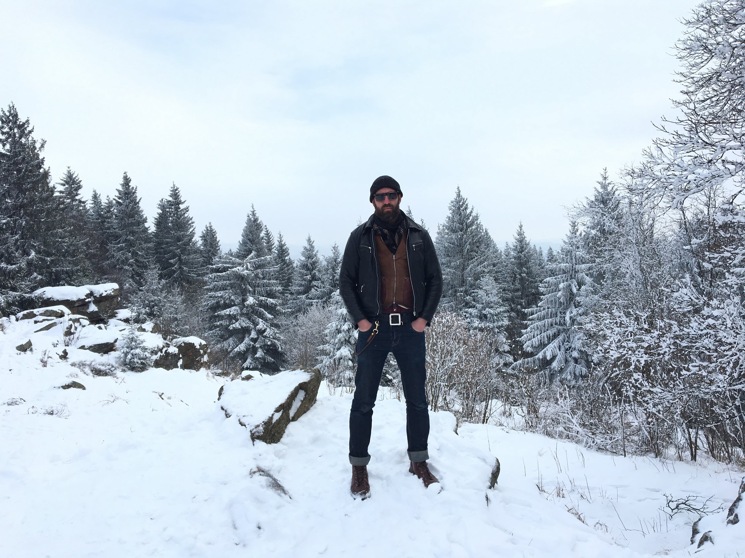 Climbing a mountain on a visit to Budvar Brewery in Czech