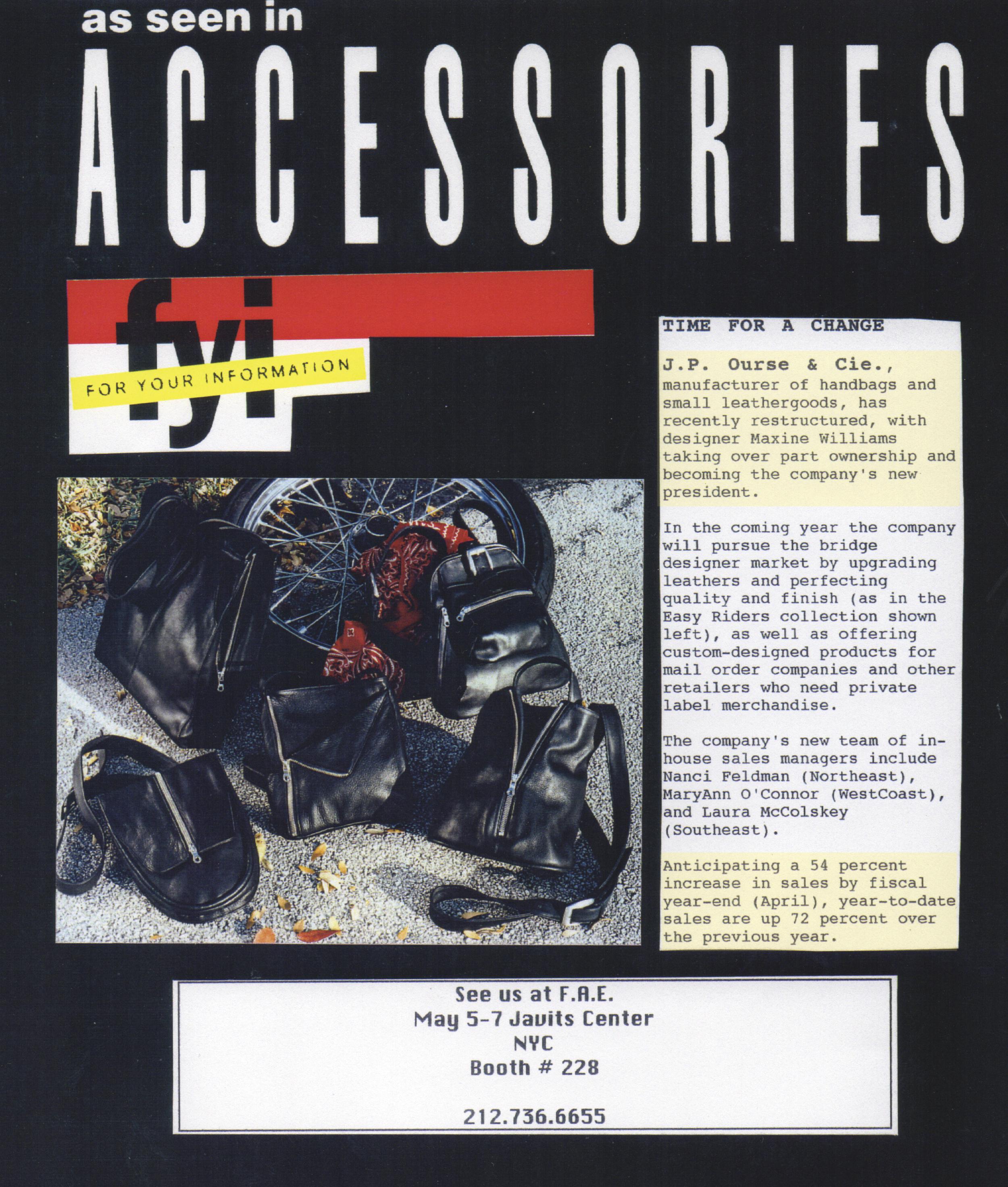 Write up in Accessories Magazine