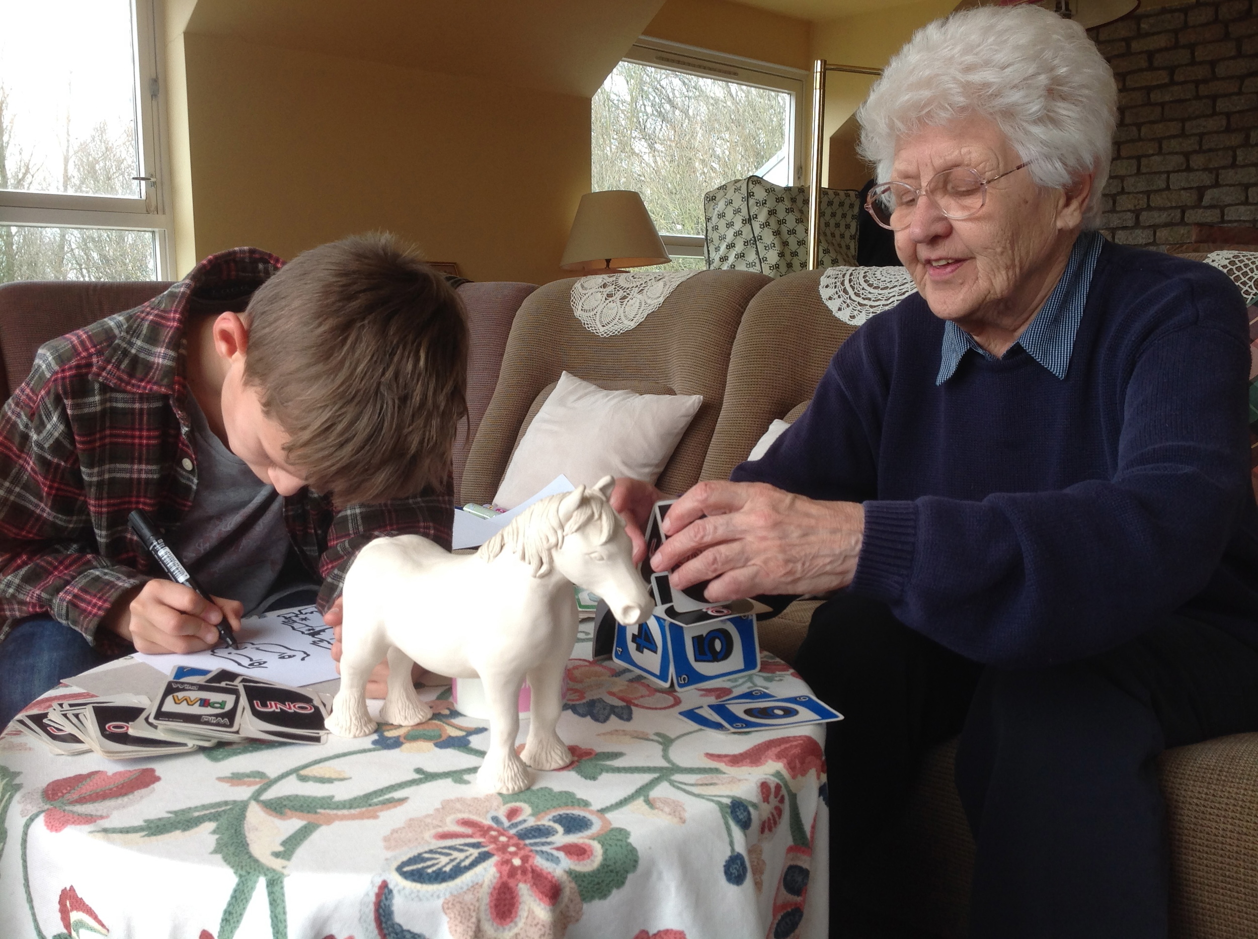 Great Granny Ces and Truman, and the clay horse Ces made in the late 70's
