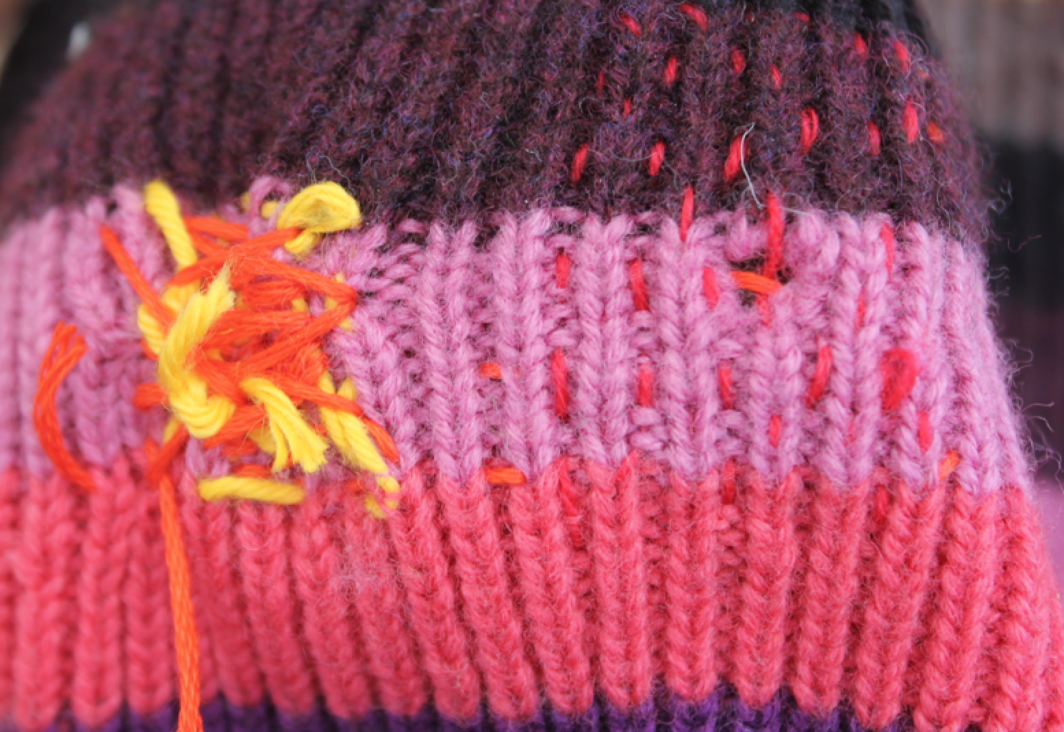 Hat mends by Martha and CCW PhD researcher  Charlotte Webb